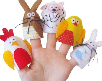Easter Animals Finger Puppets / Children's / Babies Toys / Felt Finger puppets - 5 / Easte