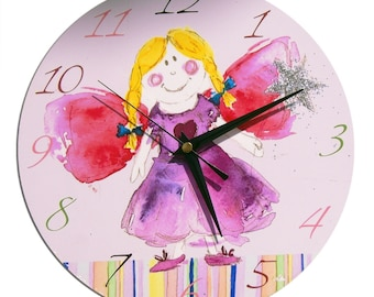 Fairy Clock /  Children's Wall Clock / Girls Nursery Decor