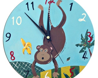 Monkey Clock / Children's Hand-painted Wall Clock / Jungle Animal Nursery Decor