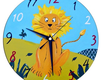 Lion Clock / Children's Wall Clock / Jungle Animal Decor /  Hand-Painted