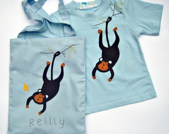 Monkey T-Shirt and Personalised Tote Bag / Jungle Animal Tee Shirt and Personalized Bag  - Blue, Pink