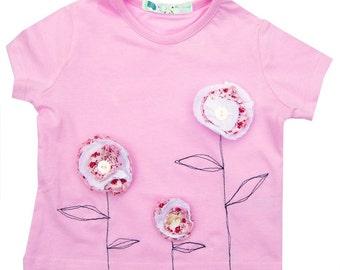Girl's Flower Tee Shirt / T-shirt  / Kids Top / Children's Clothes / Baby Clothes