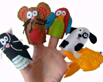 Animal Finger Puppets - Pets / Children / Kids Felt Puppet / Cat / Hamster / Parrot / Dog / Fish - 5