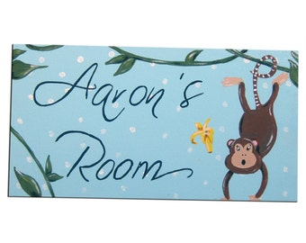Monkey Personalized Door Sign / Boys , Girls Personalised Plaque / Nursery Decor - Blue , Pink , Yellow