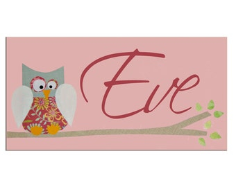 Owl Personalized Door Sign / Personalised Name Plaque / Nursery Decor / Pink, Blue, Yellow