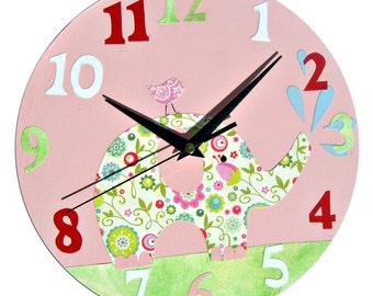 Elephant Clock / Children's Wall Clock / Nursery Clock / Nursery Decor - Pink , Blue