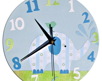 Elephant Clock / Children's wall Clock / Nursery Clock - Blue, Pink