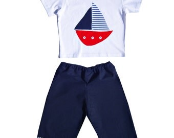 Boat Tee Shirt and Pants Outfit  / Boys T-shirt and Trousers / Baby / Children's Clothes