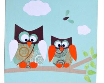 Owl Canvas - Children's Art / Boys , Girls Nursery Decor - Blue , Pink , Yellow