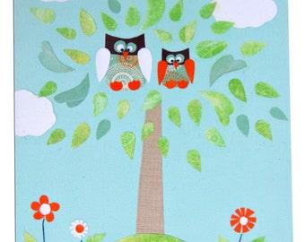 Two Owls Canvas / Children's Art / Boys / Girls Picture / Nursery Decor - Blue, Pink, Yellow