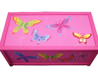 Personalized Butterfly Toy Box - Hand-painted / Personalised Girls Storage Box / Nursery Decor - Pink, White