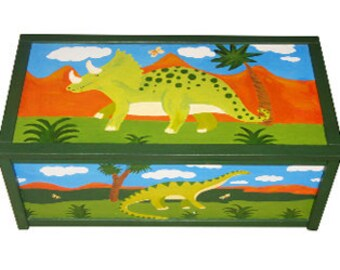 Personalized Dinosaur Toy Box / Children's / Boys Storage - Hand-painted