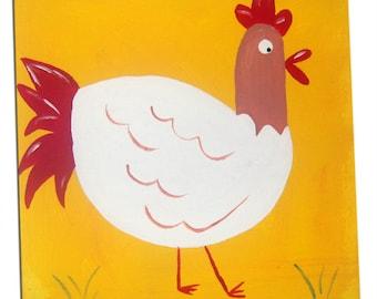 Farm Animal Hen Painting  / Children's Art  / Canvas / Nursery Decor