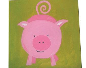 farm animals pig canvas childrens art kids painting nursery decor