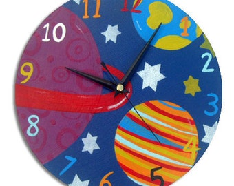 Outer Space Clock / Children's wall Clock / Nursery Clock / Boys Decor