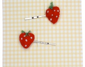 Strawberry Hair Slides / Girls Hair Accessories / Children's Hair Clip