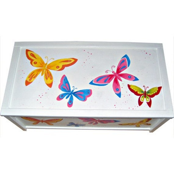Personalized White Butterfly Toy Box