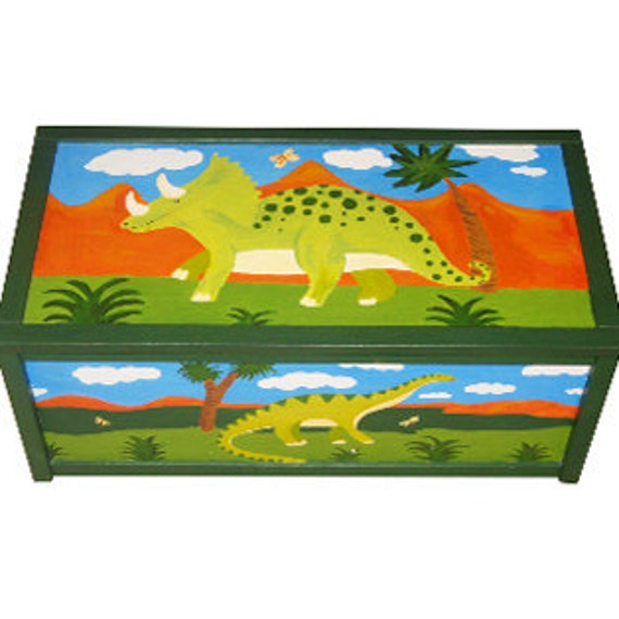 Personalized Dinosaur Toy Box / Children's / Boys Storage
