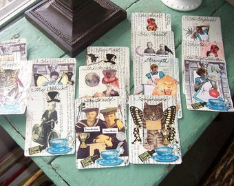 Handmade Tarot Cards Major Arcana 22 Tarot Cards Featuring Alice in Wonderland