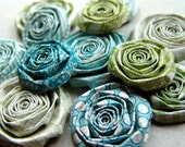 Handmade paper flowers Teal Blue and Green SET of 10 handmade flowers roses for scrapbooking paper blooms