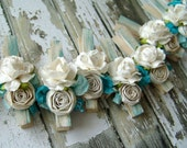Shabby Chic CUSTOM decorative Clothes Pins Set of 10 pegs paper flowers