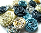 Vintage blue yellow gold paper flowers SET of 20 roses handmade blooms wedding