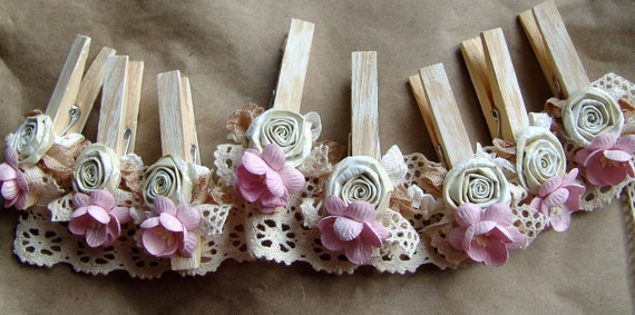 Shabby Chic Nursery PINK decorated Clothes Pins Decorated Clothes Pegs Set of 8 pins with handmade flowers PINK paper flower