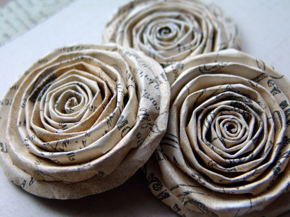 Shabby Chic Vintage XXL paper flowers roses set of 3 handmade roses Printery