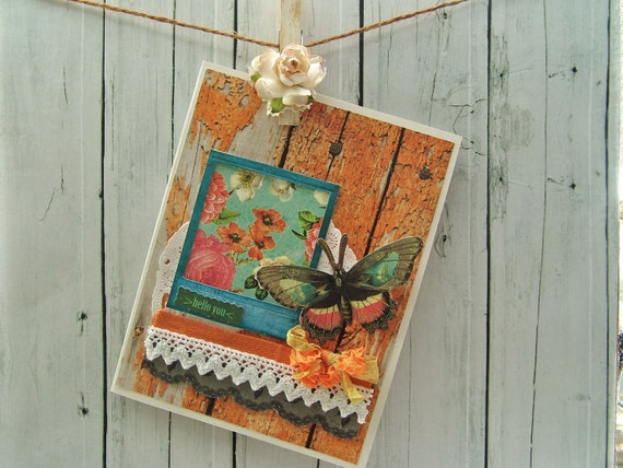 Rustic greeting card orange weathered wood Butterfly hello you country charm
