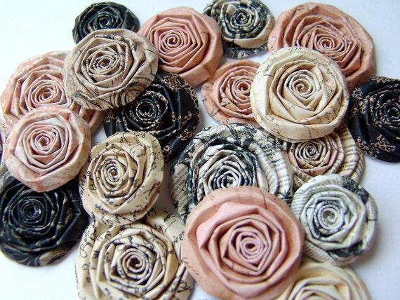 Vintage Peach paper flowers SET of 40 handmade roses Prima flower Almanac