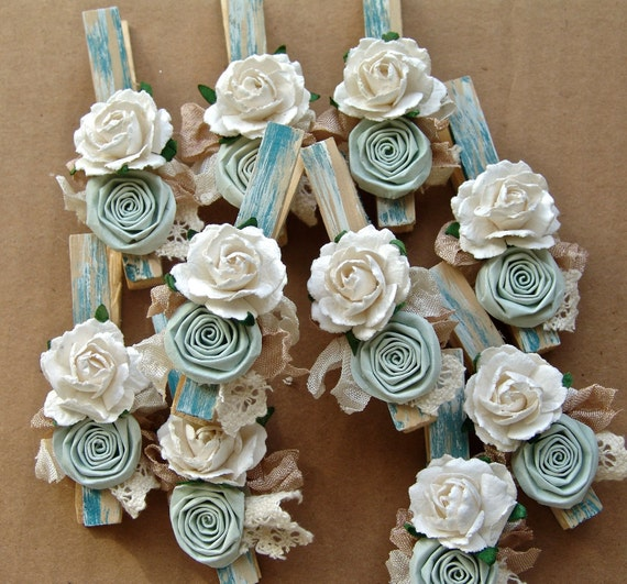 Shabby Chic decorative clothespins Set of 8 clothing pegs CUSTOM wedding place card holder