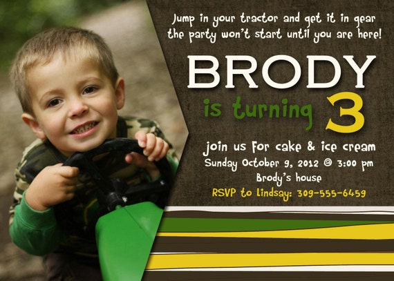 Tractor Birthday Invitation 5x7 - Print Your Own