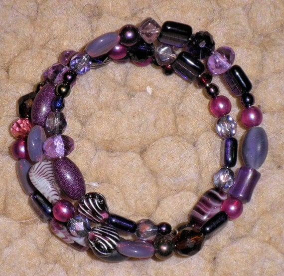 Shades of Purple Memory Wire Bracelet