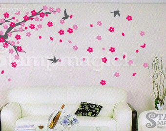 Cherry Blossom Branch Wall Decal - Vinyl Home Wall Art Sticker - Home Wall Decor - K013