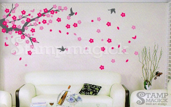 Cherry Blossom Branch Wall Decal - Tree Branch Vinyl Wall Decal Graphics Wall Mural - Flower Branch Wall Decal Wall Art - K013