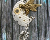 Brass Bee in a Steampunk Garden - original OOAK Necklace