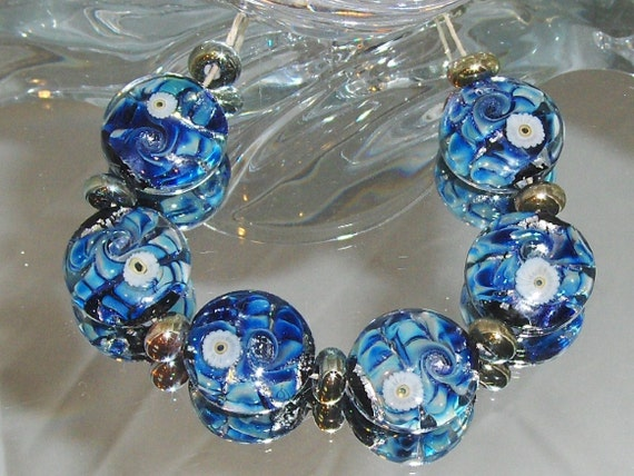ELECTRIC BLUE. lampwork beads. Set of 6 button style beads with silver glass spacers.