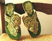 Green Virgin Vintage Handmade Indian Sandals from Panaji, India