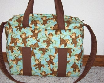 Jungle Monkeys Diaper Bag w/change pad by EMIJANE