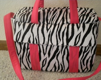 Zebra and Hot Pink  Diaper Bag with changing pad by EMIJANE