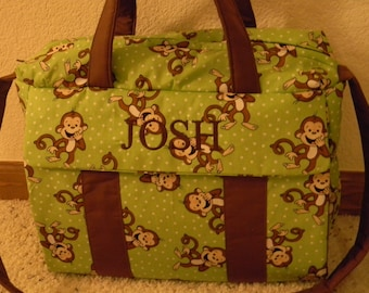 Green Monkey Diaper Bag w/change pad by EMIJANE