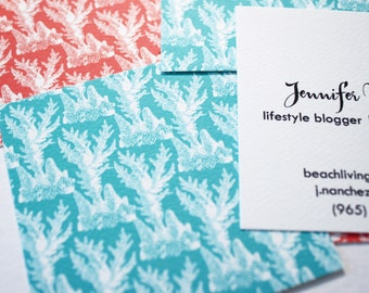 Coral Wallpaper Calling Cards or Mommy Cards