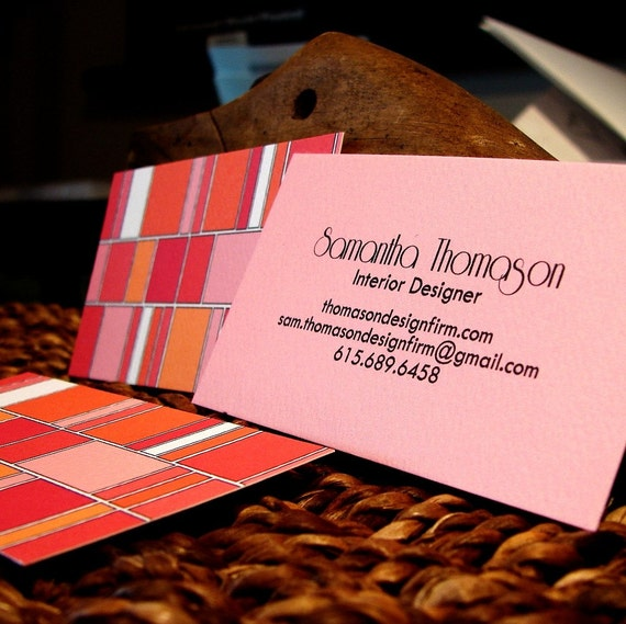 pink and orange mod blocks calling card set (50) standard size