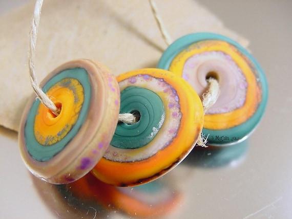 Handmade lampwork glass beads--- TaLiSmAn discs---SRA