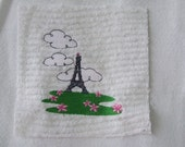 Made 2 Match Embroidered Chenille Fabric Rag Quilt Square Eiffel Tower
