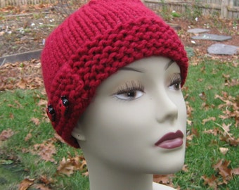Bulky Red Hat, Handknit, Ladybugs, Child, Adult, Wool, Handmade by Felted Friends