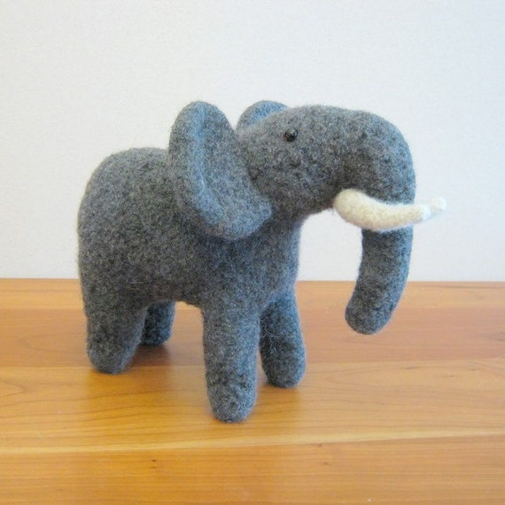 Elephant Stuffed Toy Animal. Handmade, African, Gray, Wool. Handmade Stuffed Animals by FeltedFriends on Etsy.