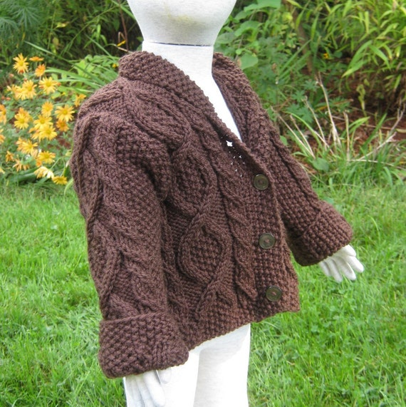 Childs Cardigan, Handknit Sweaters. Baby, wool, 12 months, brown, Irish, Aran. Handknit Childrens Sweaters by FeltedFriends on Etsy