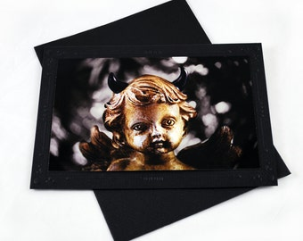 Goth Greeting Card - Little Demon - 5x7 in Black - Unique - Blank Cards - Valentine - All Occasions