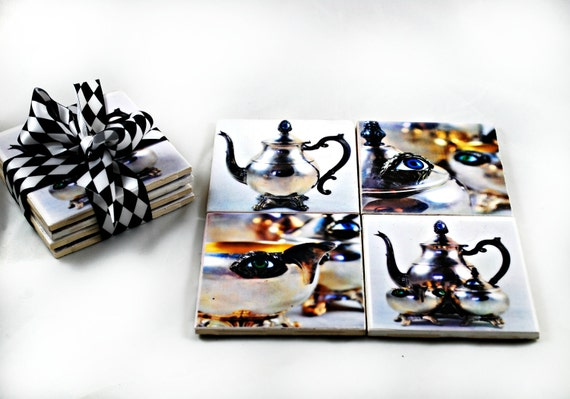 Art Tile Coaster Set - Treacherous Tea - 4 x 4 - Home Decor - Gifts under 25